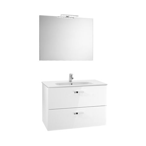 ROCA Pack (Incluye Unik Victoria Basic de 2 cajones, espejo y aplique LED), Serie Victoria Basic, 80 cm, Color Blanco Brillo. - A855857806