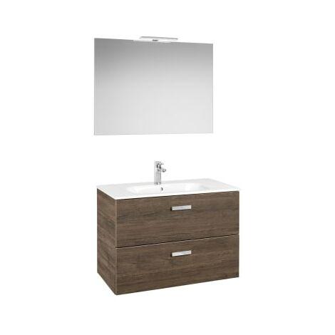 Roca - Pack (Incluye Unik Victoria Basic de 2 cajones, espejo y aplique LED), Serie Victoria Basic, 80 cm, Color Cedro. - A855857423