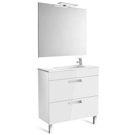 ROCA Pack (mueble base compacto con dos cajones lavabo espejo y aplique) - 80 cm, Serie Debba , Color Blanco brillo