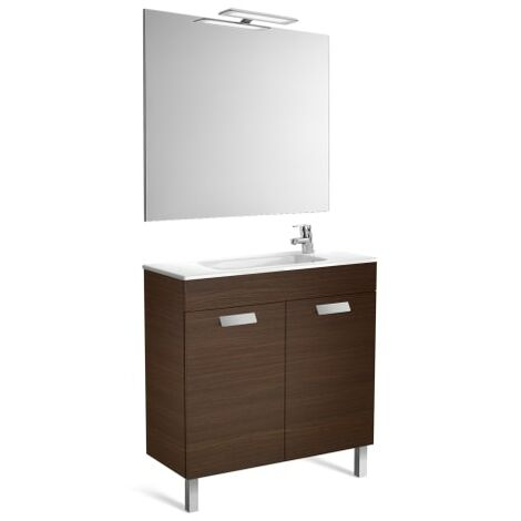 Roca - Pack (mueble base compacto con puertas lavabo espejo y aplique) - 80 cm, Serie Debba