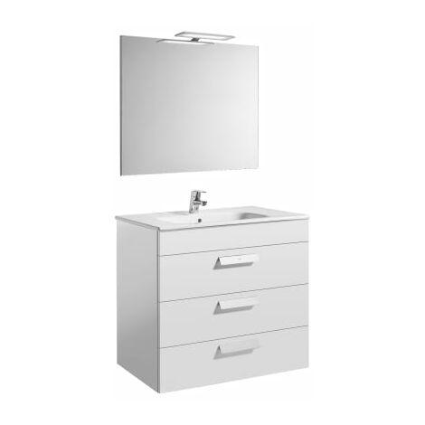 Roca - Pack (mueble base con tres cajones lavabo espejo y aplique LED) - 80 cm, Serie Debba , Color Blanco brillo - A855992806