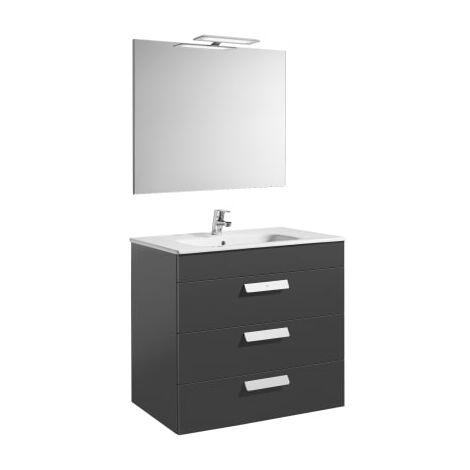 Roca - Pack (mueble base con tres cajones lavabo espejo y aplique LED) - 80 cm, Serie Debba , Color Gris antracita - A855992153
