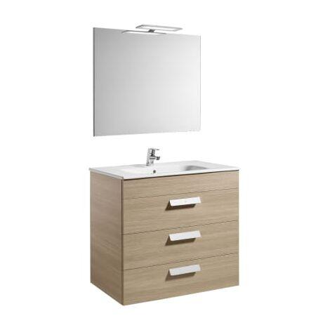 Roca - Pack (mueble base con tres cajones lavabo espejo y aplique LED) - 80 cm, Serie Debba , Color Roble - A855992155