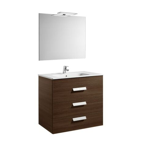 Roca - Pack (mueble base con tres cajones lavabo espejo y aplique LED) - 80 cm, Serie Debba , Color Wengé - A855992154