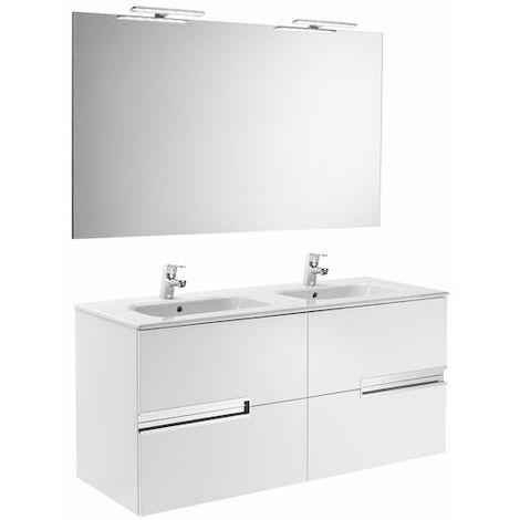 Roca - Pack (mueble base lavabo doble espejo y dos apliques) - 120 cm, Serie Victoria-N