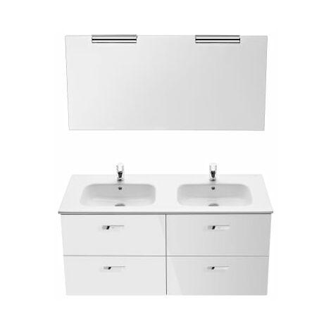 Roca - Pack (mueble base lavabo doble espejo y dos apliques) - Serie Victoria Basic (120 x 45 x 56,5 cm) - Varios colores
