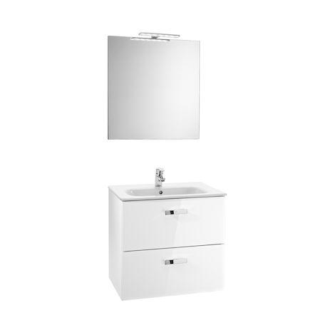 Roca - Pack (mueble base lavabo espejo y aplique) - Serie Victoria Basic (60 x 45 x 56,5 cm) - Varios colores