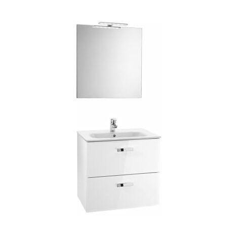Roca - Pack (mueble base lavabo espejo y aplique) - Serie Victoria Basic (70 x 45 x 56,5 cm) - Varios colores