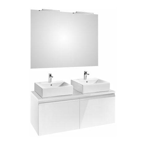Roca - Pack (mueble base para dos lavabos sobre encimera con dos cajones espejo y dos apliques Smartlight) - Serie Heima
