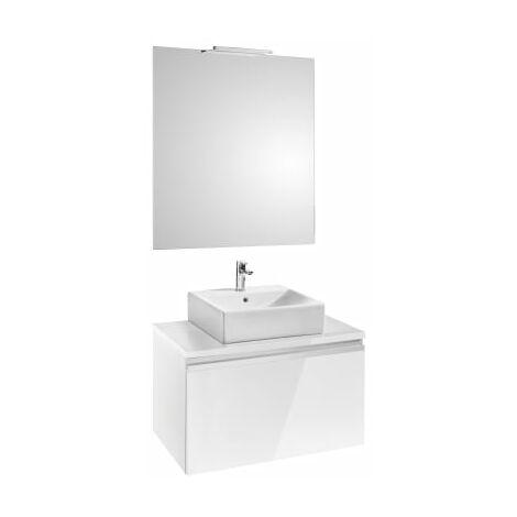 Roca - Pack (mueble base para lavabo sobre encimera con un cajón espejo y aplique Smartlight) - Serie Heima