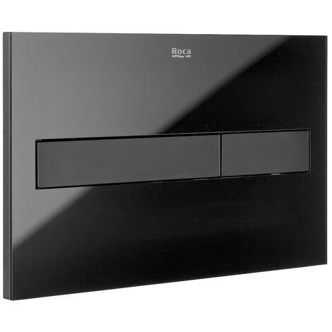"main image of ""Roca PL7 Dual Toilet Flush Plate - Glass Black"""