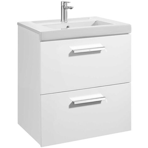 Roca Prisma 2-Drawer Vanity Unit With Basin 600mm Wide Gloss White - 1 Tap Hole