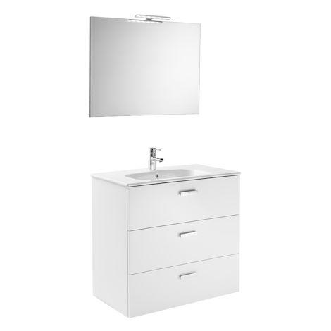 ROCA Serie Victoria Basic Family Conjunto mueble con lavabo porcelana espejo y aplique LED