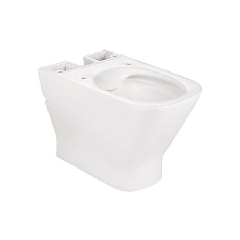 ROCA Taza para inodoro de porcelana compacto adosado a pared Rimless con salida dual - Serie The Gap , Color Blanco