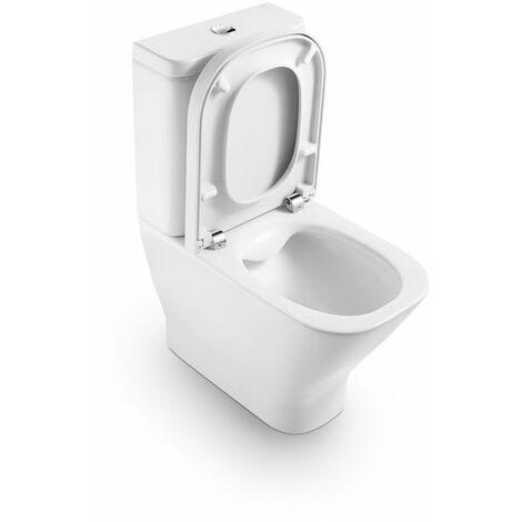 Roca - Taza para inodoro de porcelana compacto adosado a pared Rimless con salida dual - Serie The Gap