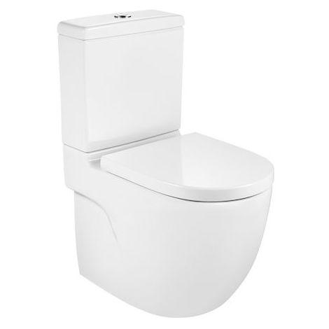 Roca - Taza para inodoro de porcelana compacto con salida dual adosado a pared - Serie Meridian