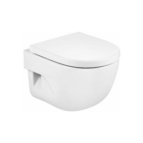 Roca - Taza para inodoro de porcelana suspendido compacto con salida a pared - Serie Meridian (36 x 48 x 40 cm) - Color Blanco o Pergamon