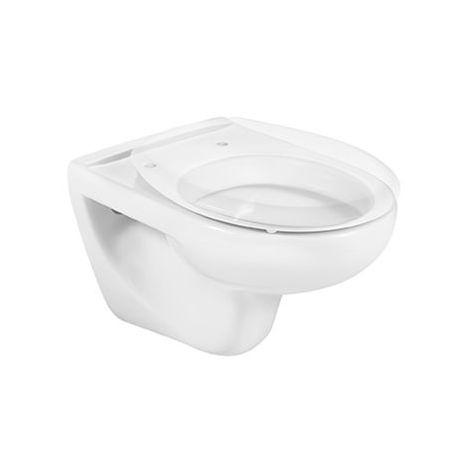 Roca - Taza para inodoro de porcelana suspendido con salida a pared - Serie Victoria (35,5 x 52,5 x 39,5 cm) - Color Blanco o Pergamon