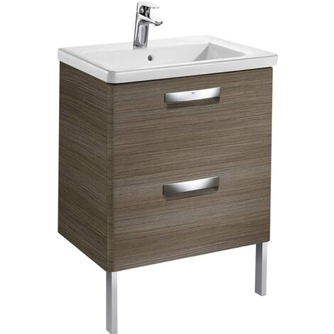 Roca The Gap 2-Drawer Bathroom Vanity Unit with Basin 600mm W - Gloss White