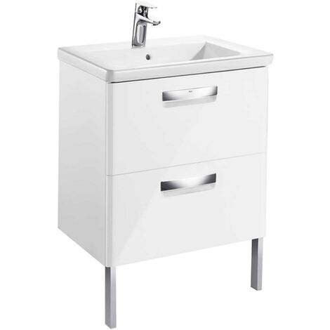Roca The Gap 2-Drawer Bathroom Vanity Unit with Basin 600mm W - Gloss White