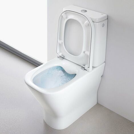 Roca The Gap Cleanrim Close Coupled Toilet with Dual Outlet Push Button Cistern, Standard Seat
