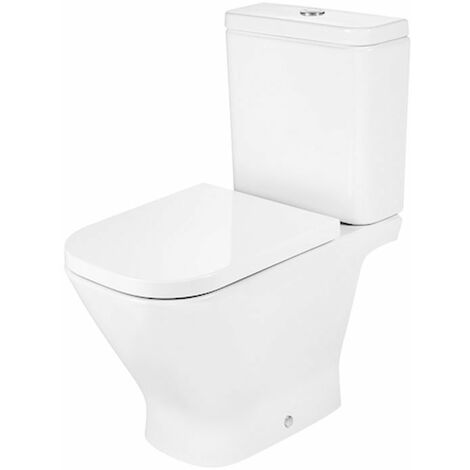 Roca The Gap Close Coupled Toilet with Push Button Cistern, Standard Seat