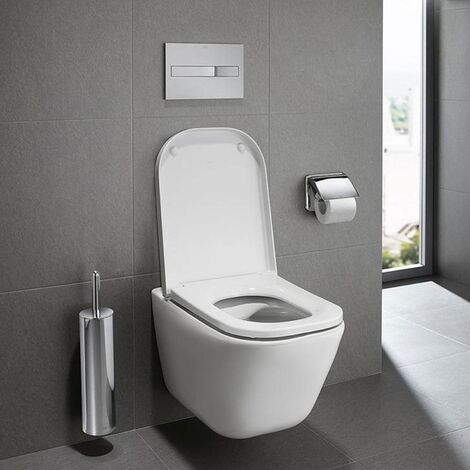 Roca The Gap Rimless Wall Hung Toilet, 540mm Projection, Soft Close Seat