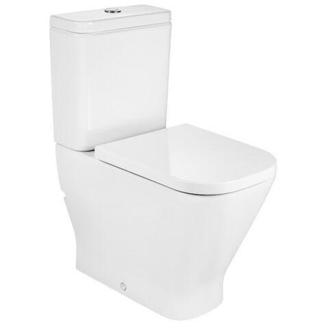 ROCA THE GAP SQUARE - Inodoro completo altura confort adosado a pared con salida dual (incluye taza, cisterna con alimentación inferior y tapa amortiguada)