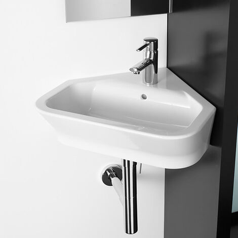 Roca The Gap Wall Hung Corner Basin, 480mm Wide, 1 Tap Hole