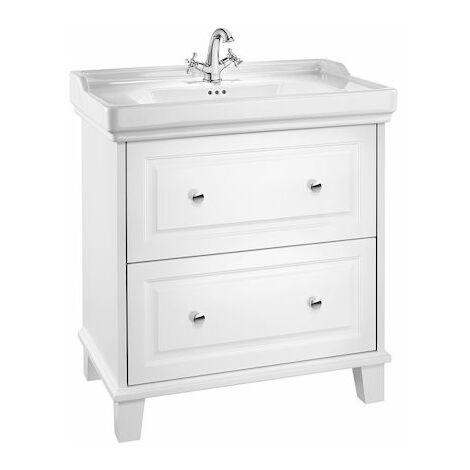 Roca-Unik Carmen (mueble base con dos cajones y lavabo con 3 orificios) blanco satinado.