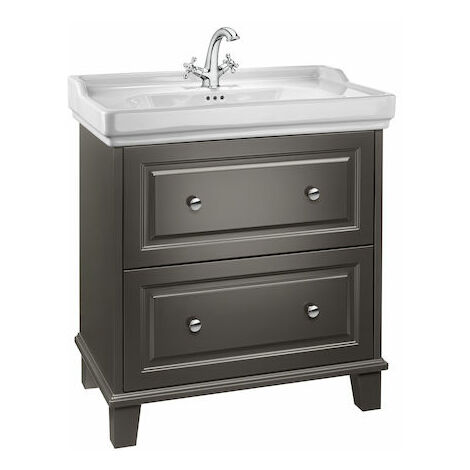 Roca-Unik Carmen (mueble base con dos cajones y lavabo con 3 orificios) gris oscuro satinado.