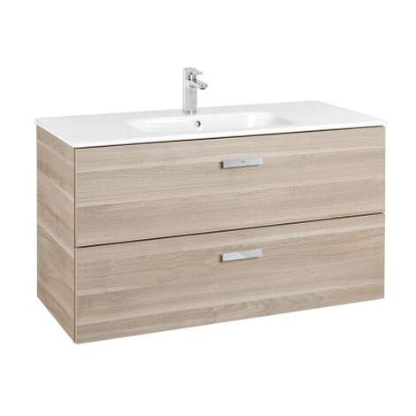 Roca - Unik (Conjunto mueble de 2 cajones y lavabo), Serie Victoria Basic, 100 cm, Color Abedul - A855851422