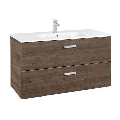 Roca - Unik (Conjunto mueble de 2 cajones y lavabo), Serie Victoria Basic, 100 cm, Color Cedro - A855851423