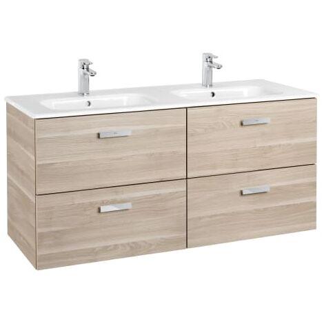 Roca - Unik (Conjunto mueble de 2 cajones y lavabo), Serie Victoria Basic, 120 cm, Color Abedul - A855850422