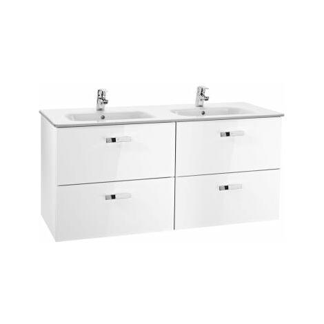 Roca - Unik (Conjunto mueble de 2 cajones y lavabo), Serie Victoria Basic, 120 cm, Color Blanco brillo - A855850806