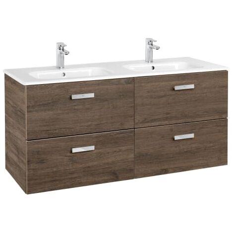 Roca - Unik (Conjunto mueble de 2 cajones y lavabo), Serie Victoria Basic, 120 cm, Color Cedro - A855850423