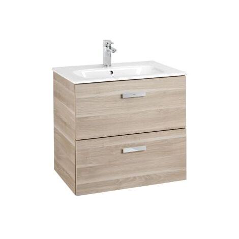 Roca - Unik (Conjunto mueble de 2 cajones y lavabo), Serie Victoria Basic, 60 cm, Color Abedul - A855854422
