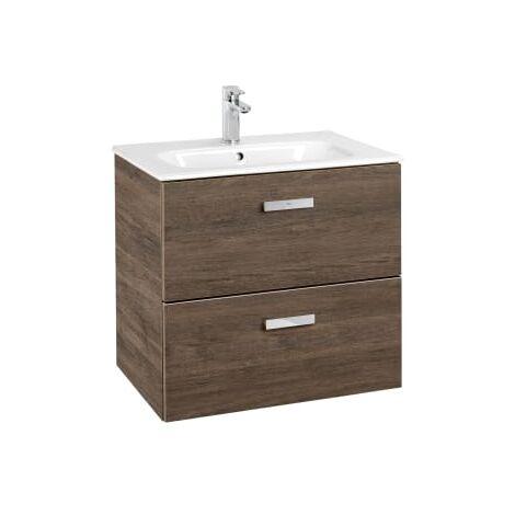 Roca - Unik (Conjunto mueble de 2 cajones y lavabo), Serie Victoria Basic, 60 cm, Color Cedro - A855854423