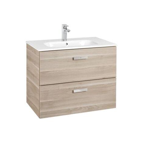 Roca - Unik (Conjunto mueble de 2 cajones y lavabo), Serie Victoria Basic, 70 cm, Color Abedul - A855853422