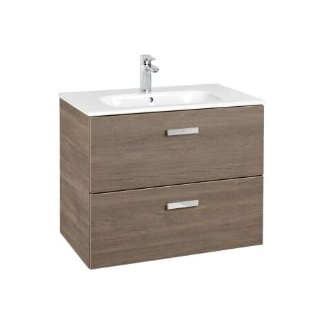 Roca - Unik (Conjunto mueble de 2 cajones y lavabo), Serie Victoria Basic, 70 cm, Color Cedro - A855853423
