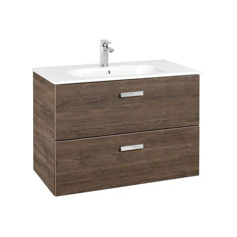 Roca - Unik (Conjunto mueble de 2 cajones y lavabo), Serie Victoria Basic, 80 cm, Color Cedro - A855852423