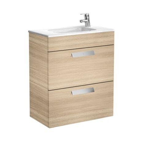 Roca-Unik Debba(mueble base compacto con dos cajones y lavabo) roble texturizado.