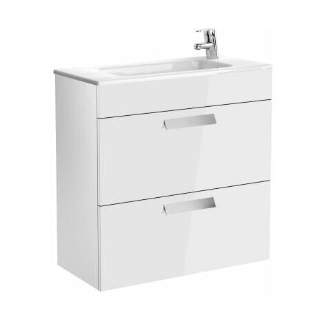 Roca-Unik (mueble base compacto con dos cajones y lavabo) blanco brillo.
