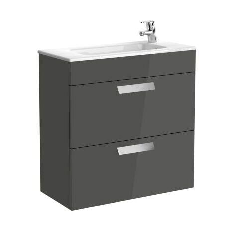 Roca-Unik (mueble base compacto con dos cajones y lavabo) gris antracita.