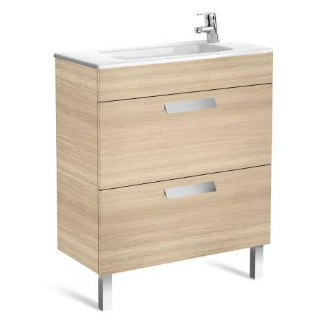 Roca-Unik (mueble base compacto con dos cajones y lavabo) Roble texturizado.