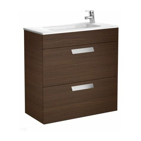 Roca-Unik (mueble base compacto con dos cajones y lavabo)Wengé texturizado.
