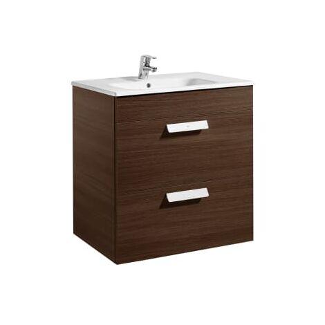 Roca - Unik (mueble base con dos cajones y lavabo) - 60 cm, Serie Debba , Color Wengé - A855966154