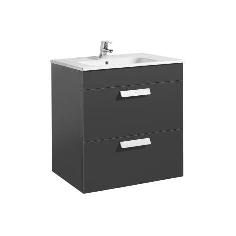 Roca - Unik (mueble base con dos cajones y lavabo) - 70 cm, Serie Debba , Color Gris antracita - A855967153