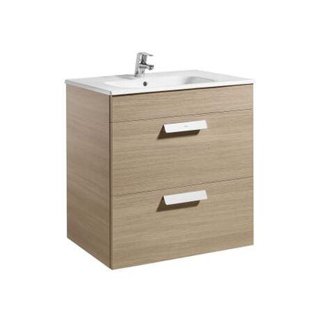 Roca - Unik (mueble base con dos cajones y lavabo) - 70 cm, Serie Debba , Color Roble texturizado - A855967155