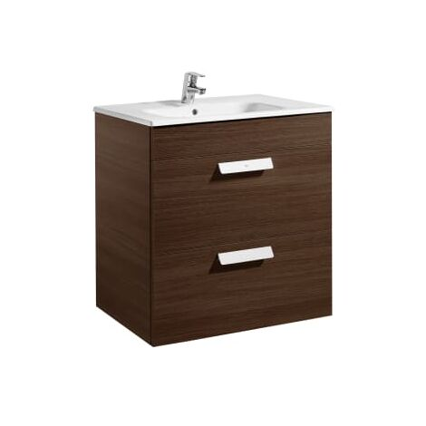 Roca - Unik (mueble base con dos cajones y lavabo) - 70 cm, Serie Debba , Color Wengé - A855967154